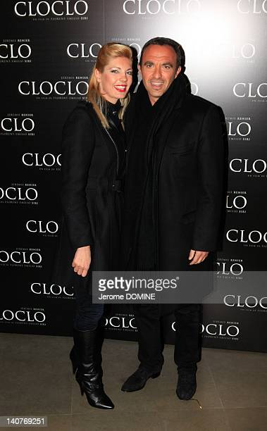 Nikos Aliagas and his wife attend the 'Cloclo' Paris Premiere at Gaumont Marignanon March 5 2012 in Paris France