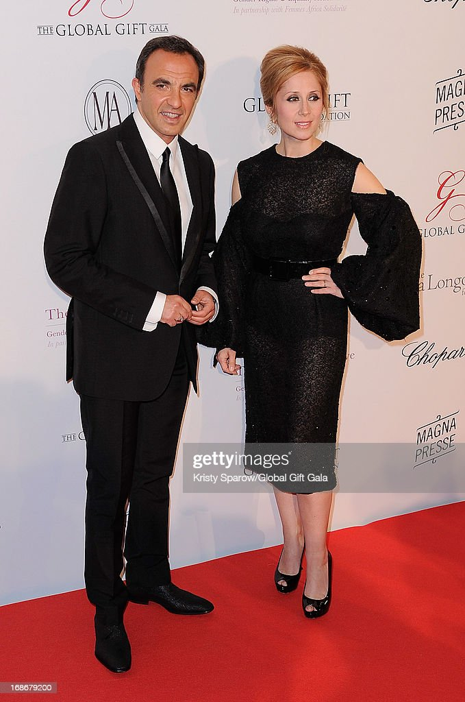 Nikos Aliagas and Lara Fabian attend the 'Global Gift Gala' at Hotel George V on May 13, 2013 in Paris, France.