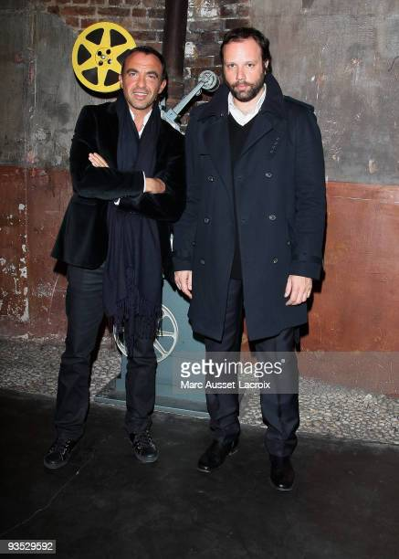 Nikos Aliagas and Yorgos Lanthimos pose for Greek Contemporary Cinema 6th Panorama at Le Cinema des Cineastes on December 1 2009 in Paris France