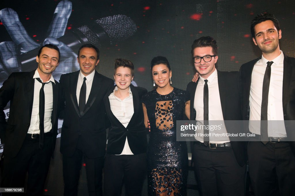 Nikos Aliagas (2nd L) with Finalists of French TV Show 'The Voice' Nuno Resende (1st L), Lois (3rd L), Olympe (2nd R), Yoann Freget (1st R) and actress Eva Longoria (3rd R) which present 'Global Gift Gala' at Hotel George V on May 13, 2013 in Paris, France.