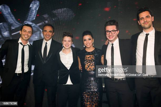 Nikos Aliagas with Finalists of French TV Show 'The Voice' Nuno Resende Lois Olympe Yoann Freget and actress Eva Longoria which present 'Global Gift...