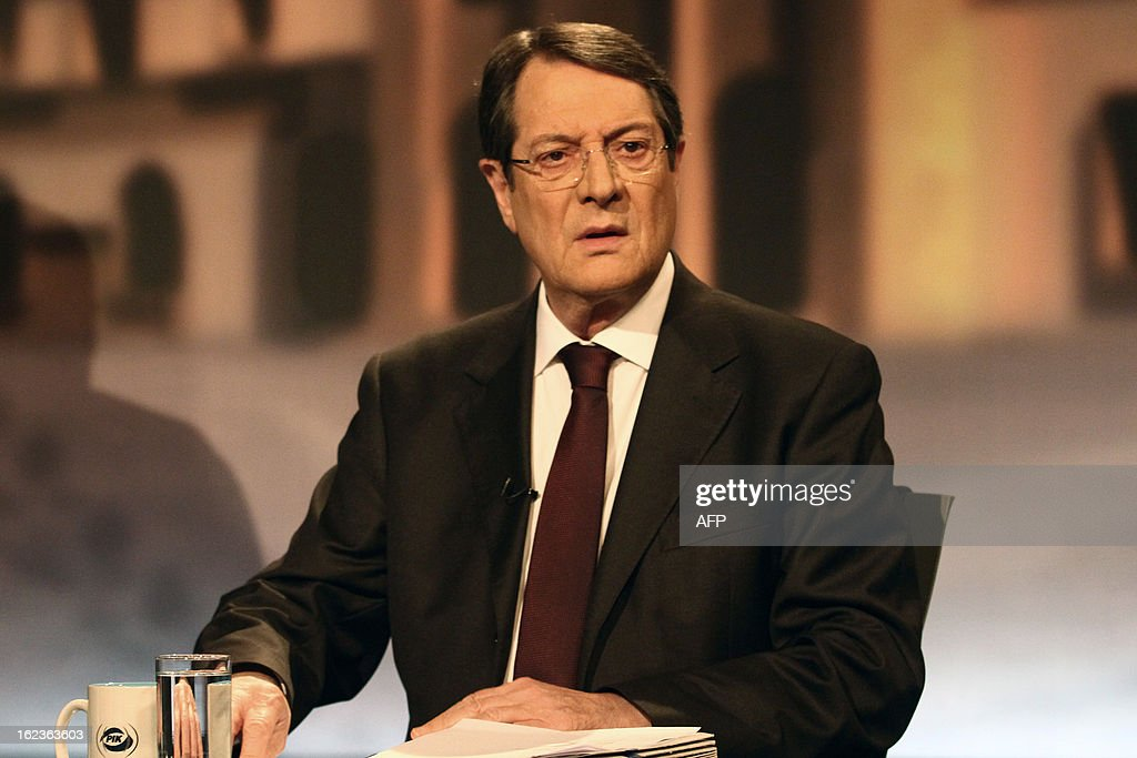 Nikos Anastasiadis, one of the two remaining candidates in the Cypriot presidential election, attends the last televised political debate in Nicosia, on February 22, 2013 ahead of the scheduled elections on February 24.