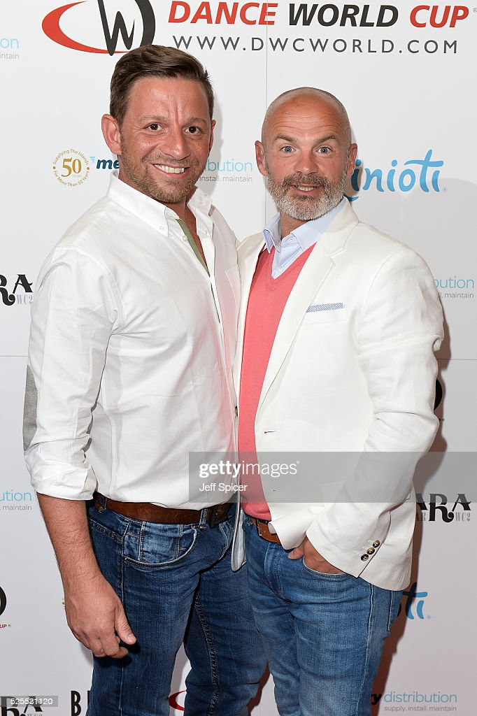 Nikos Liolios and Julian Bennett arrive at the launch of the 2016 annual BLOCH Dance World Cup on April 28, 2016 in London, England.