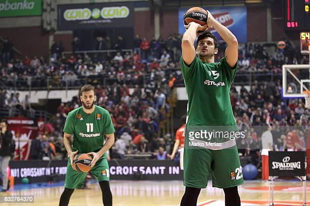 Nikos Pappas #11 of Panathinaikos Superfoods Athens and Alessandro Gentile #25 of Panathinaikos Superfoods Athens warm up during the 2016/2017...