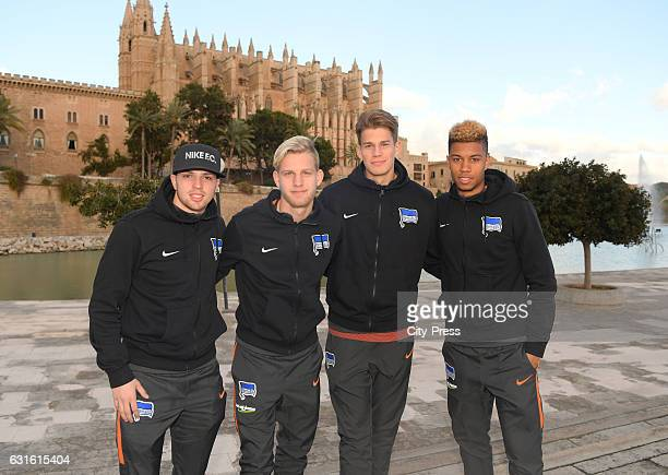 Nikos Sografakis Arne Maier Dennis Smarsch and Sidney Friede of Hertha BSC during the training camp on January 13 2017 in Palma de Mallorca Spain