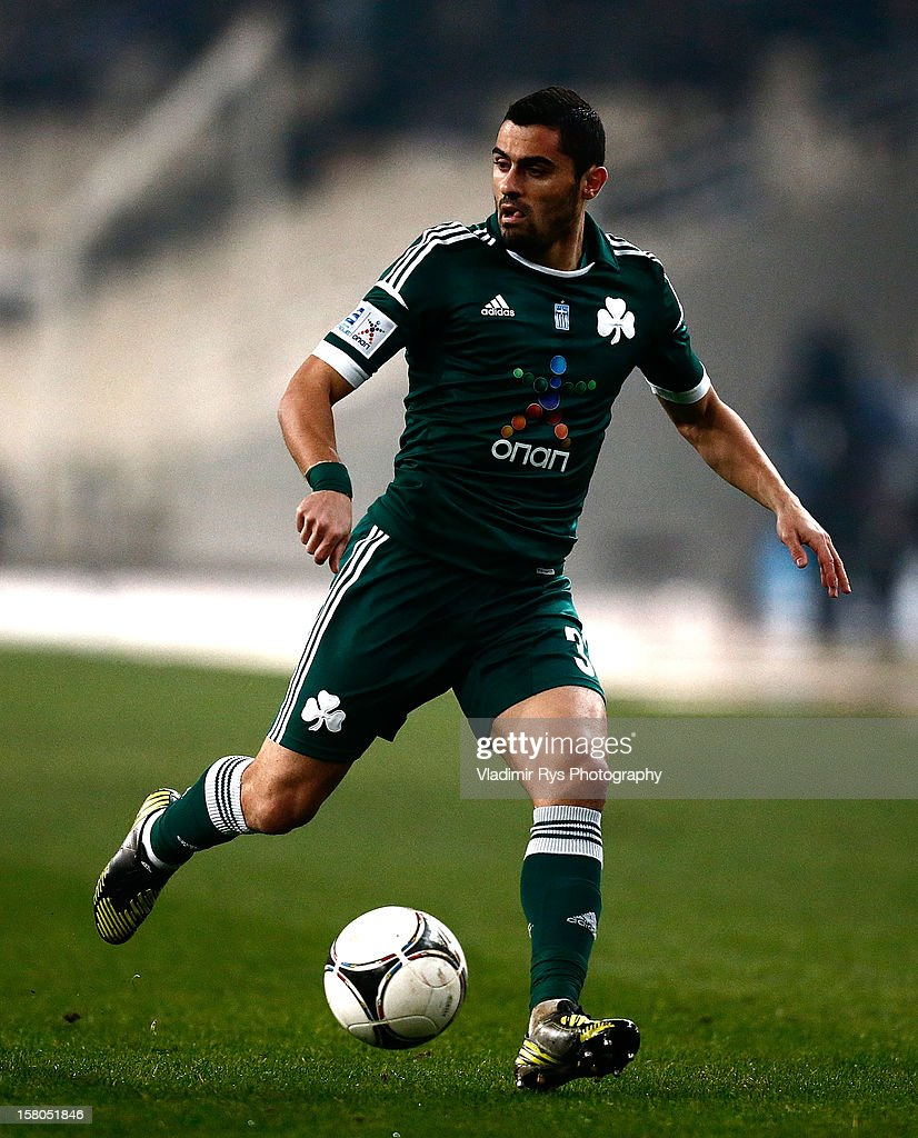 Nikos Spyropoulos of Panathinaikos in action during the Superleague match between Panathinaikos FC and Olympiacos Piraeus at OAKA Stadium on December 9, 2012 in Athens, Greece.