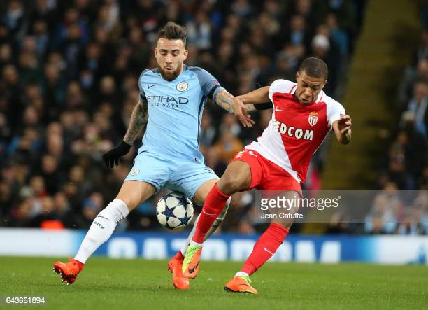 NiKylian Mbappe of Monaco and Nicolas Otamendi of Manchester City in action during the UEFA Champions League Round of 16 first leg match between...