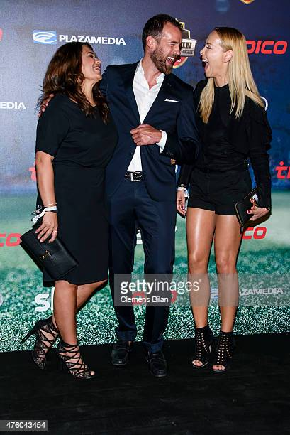 Nil Schmidt Christoph Metzelder and Sylvia Walker attends the Sky Champions Night at The Grand on June 5 2015 in Berlin Germany