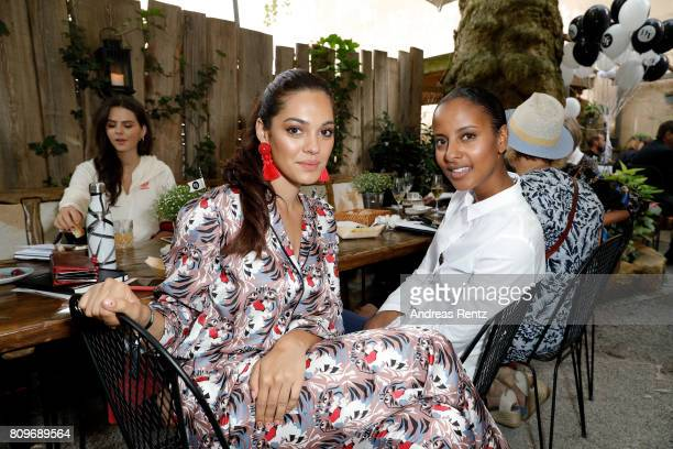 Nilam Farooq and Sara Nuru attend the 'Designer for Tomorrow' after show reception during the MercedesBenz Fashion Week Berlin Spring/Summer 2018 at...