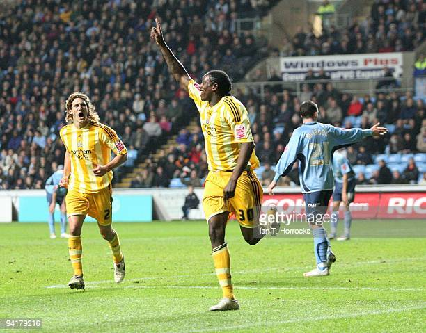 Nile Ranger celebrates scoring the second goal during the CocaCola Championship game between Coventry City and Newcastle United at the Ricoh Arena on...