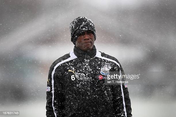 Nile Ranger of Newcastle during a training session on the eve of their UEFA Europa League Group D match against Bordeaux at the Little Benton...