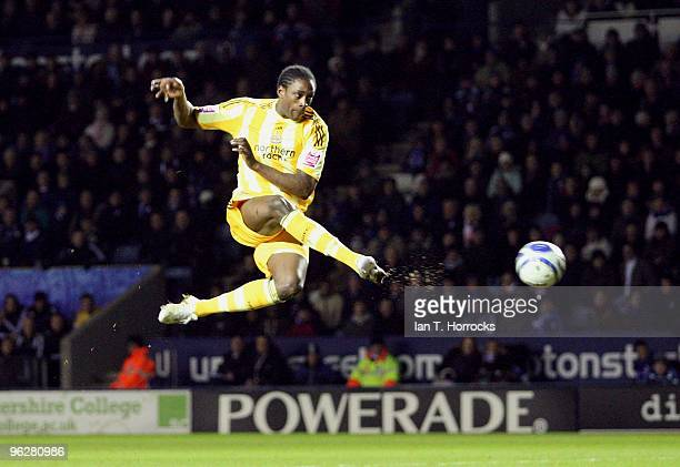 Nile Ranger of Newcastle scores but the goal is ruled offside during the CocaCola championship match between Leicester City and Newcastle United at...