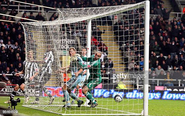 Nile Ranger of Newcastle sees his shot saved on to the crossbar by Stephen Bywater of Derby during the CocaCola Championship match between Newcastle...