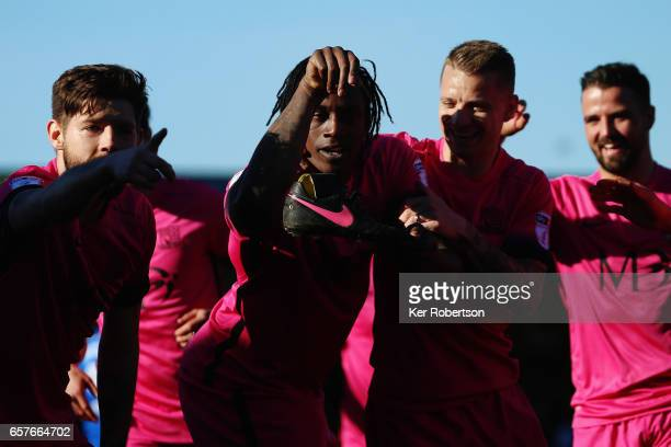 Nile Ranger of Southend United celebrates with team mates after scoring during the Sky Bet League One match between AFC Wimbledon v Southend United...