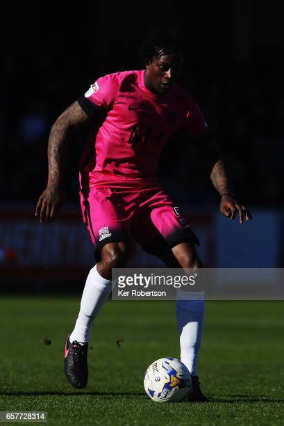 Nile Ranger of Southend United controls the ball during the Sky Bet League One match between AFC Wimbledon v Southend United at the Cherry Red...