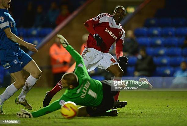 Nile Ranger of Swindon Town scores a goal during the Johnstone's Paint Southern Area Final between Peterborough United and Swindon Town at London...