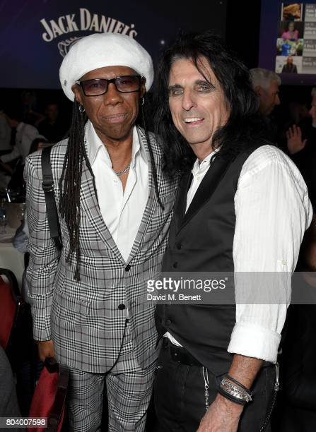 Nile Rodgers and Alice Cooper at the Nordoff Robbins O2 Silver Clef Awards at The Grosvenor House Hotel on June 30 2017 in London England