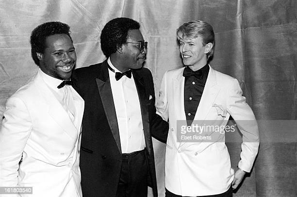 Nile Rodgers and Bernard Edwards of Chic with David Bowie at the Frankie Crocker Awards at the Savoy in New York on 21st January 21 1983