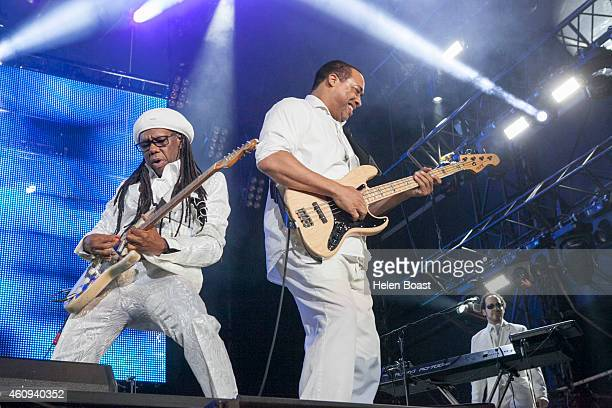 Nile Rodgers and Jerry Barnes of Chic perform on stage at the New Year's Eve Masterjam at Media City Amphitheatre on December 31 2014 in Dubai United...