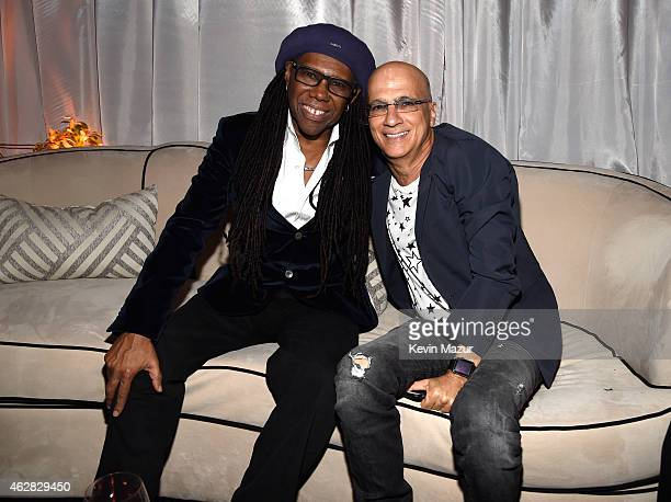 Nile Rodgers and Jimmy Iovine attend event honoring Nile Rodgers for his Recording Academy producers award at Private Residence on February 5 2015 in...