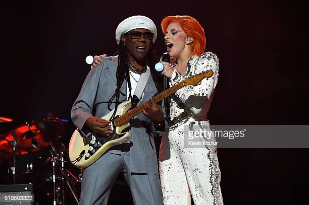 Nile Rodgers and Lady Gaga perform onstage during The 58th GRAMMY Awards at Staples Center on February 15 2016 in Los Angeles California