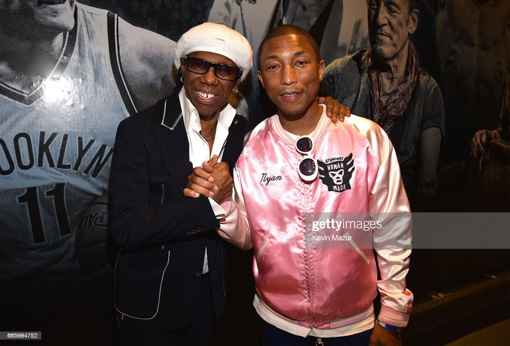 Nile Rodgers and Pharrell Williams attend 32nd Annual Rock & Roll Hall Of Fame Induction Ceremony at Barclays Center on April 7, 2017 in New York City. The broadcast will air on Saturday, April 29, 2017 at 8:00 PM ET/PT on HBO.