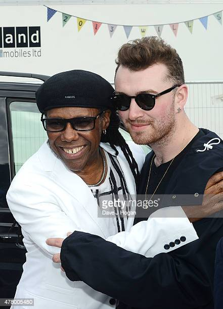 Nile Rodgers and Sam Smith backstage at the British Summer Time 2015 at Hyde Park on June 21 2015 in London England