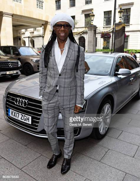 Nile Rodgers arrives in an Audi at the Nordoff Robbins at Grosvenor House Hotel on June 30 2017 in London United Kingdom