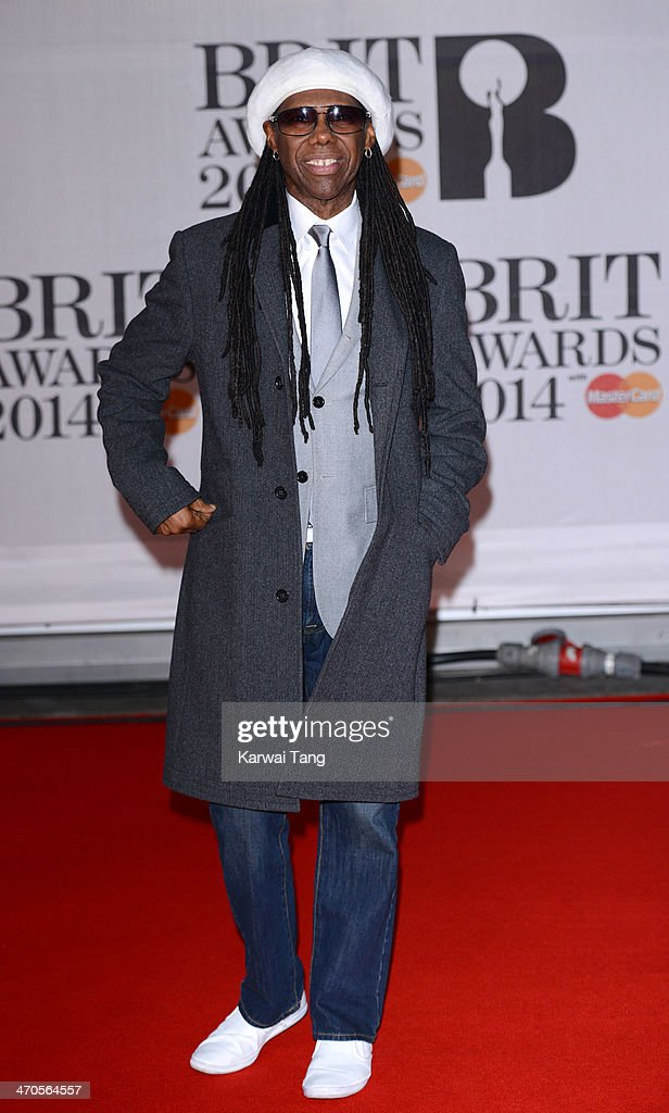 <a gi-track='captionPersonalityLinkClicked' href=/galleries/search?phrase=Nile+Rodgers&family=editorial&specificpeople=217582 ng-click='$event.stopPropagation()'>Nile Rodgers</a> attends The BRIT Awards 2014 at 02 Arena on February 19, 2014 in London, England.