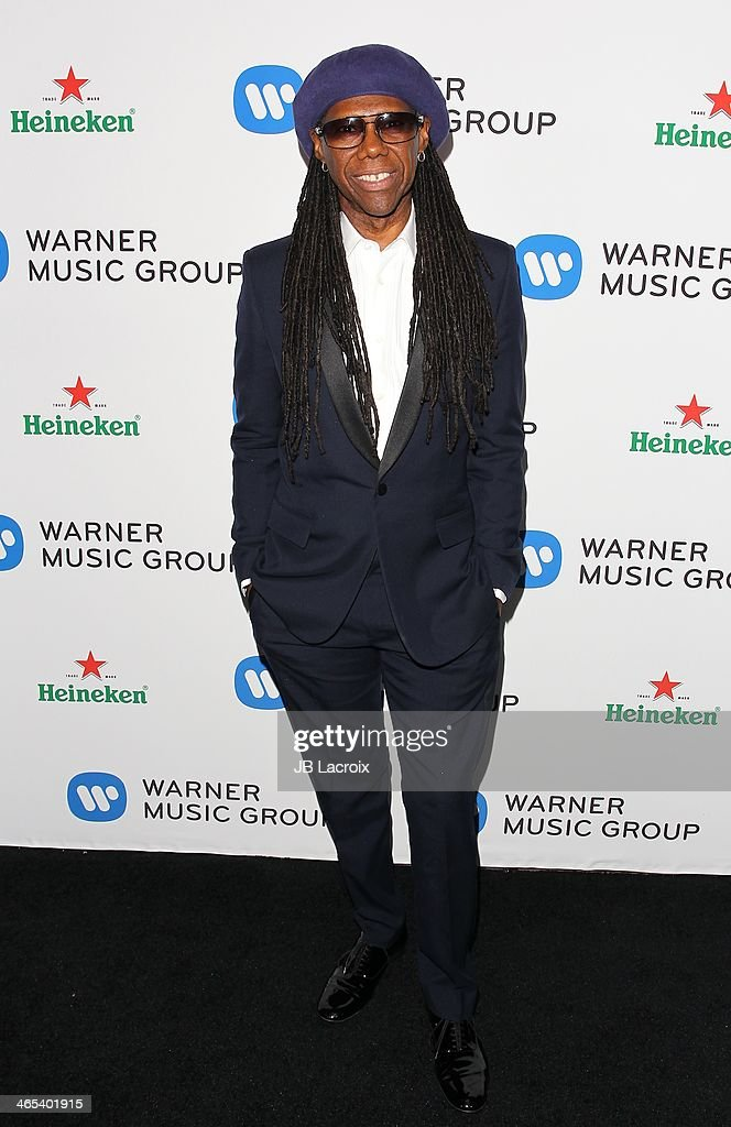 <a gi-track='captionPersonalityLinkClicked' href=/galleries/search?phrase=Nile+Rodgers&family=editorial&specificpeople=217582 ng-click='$event.stopPropagation()'>Nile Rodgers</a> attends the Warner Music Group Hosts Annual Grammy Celebration held at Sunset Tower on January 26, 2014 in West Hollywood, California.