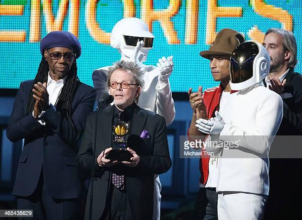 Nile Rodgers Daft Punk's Thomas Bangalter songwriter Paul Williams recording artist Pharrell Williams and Daft Punk's GuyManuel de HomemChristo speak...
