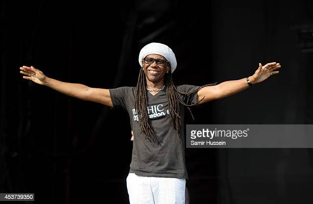 Nile Rodgers of Chic performs on Day 2 of the V Festival at Hylands Park on August 17 2014 in Chelmsford England