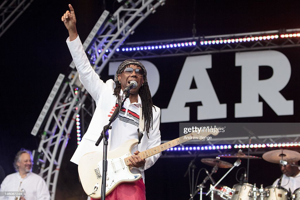 <a gi-track='captionPersonalityLinkClicked' href=/galleries/search?phrase=Nile+Rodgers&family=editorial&specificpeople=217582 ng-click='$event.stopPropagation()'>Nile Rodgers</a> of Chic performs on stage during Park Life Festival at Platt Fields Park on June 9, 2012 in Manchester, United Kingdom.