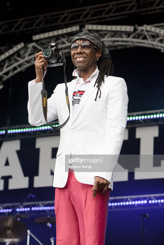 Nile Rodgers of Chic performs on stage during Park Life Festival at Platt Fields Park on June 9, 2012 in Manchester, United Kingdom.