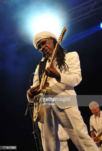 Nile Rodgers of Chic performs on the West Holts stage during day 2 of the 2013 Glastonbury Festival at Worthy Farm on June 28 2013 in Glastonbury...