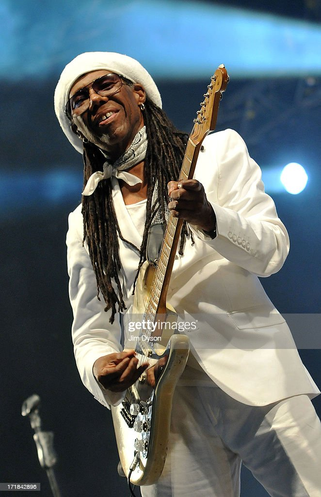 <a gi-track='captionPersonalityLinkClicked' href=/galleries/search?phrase=Nile+Rodgers&family=editorial&specificpeople=217582 ng-click='$event.stopPropagation()'>Nile Rodgers</a> of Chic performs on the West Holts stage during day 2 of the 2013 Glastonbury Festival at Worthy Farm on June 28, 2013 in Glastonbury, England.