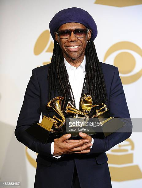 Nile Rodgers poses in the press room at the 56th GRAMMY Awards at Staples Center on January 26 2014 in Los Angeles California
