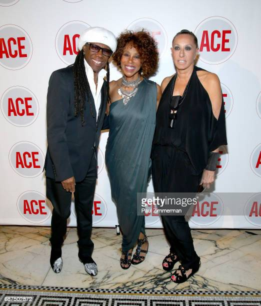 Nile Rodgers Trisha Goddard and Donna Karan attend the 2017 ACE Gala at Capitale on May 23 2017 in New York City