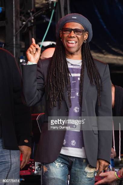 Nile Rodgers watches Barry Gibb perform on day 4 of the Glastonbury Festival 2017 at Worthy Farm Pilton on June 25 2017 in Glastonbury England