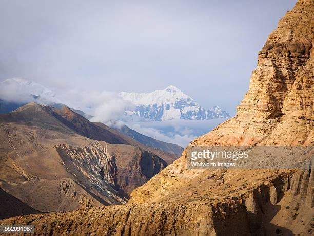 Nilgiri peak in layers of Himalayan mountains