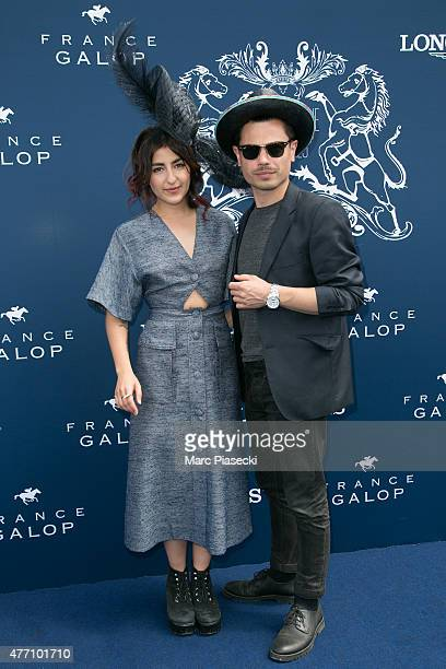Nili Hadida and Benjamin Cotto of 'Lilly Wood and the Prick' attend the 'Prix de Diane Longines 2015' at Hippodrome de Chantilly on June 14 2015 in...