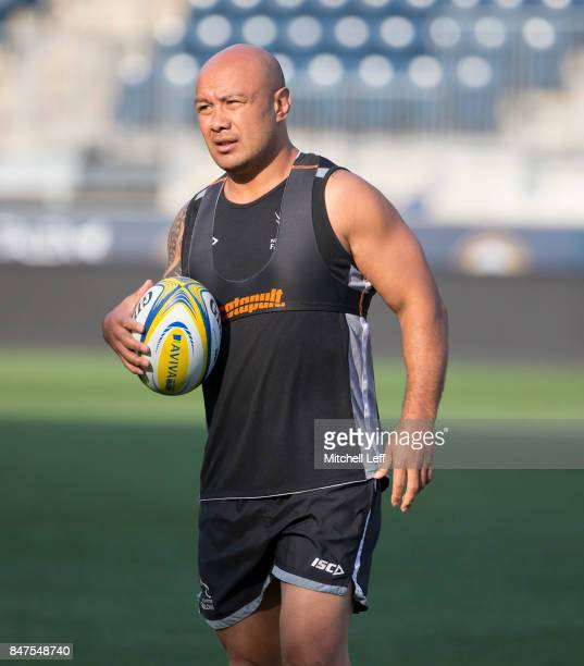 Nili Latu of the Newcastle Falcons warms up during practice at Talen Energy Stadium on September 15 2017 in Philadelphia Pennsylvania