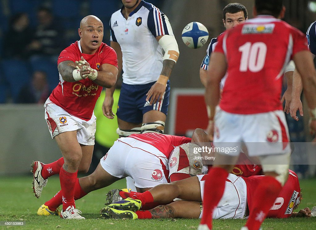 <a gi-track='captionPersonalityLinkClicked' href=/galleries/search?phrase=Nili+Latu&family=editorial&specificpeople=686673 ng-click='$event.stopPropagation()'>Nili Latu</a> of Tonga in action during the international match between France and Tonga at the Oceane Stadium on November 16, 2013 in Le Havre, France.