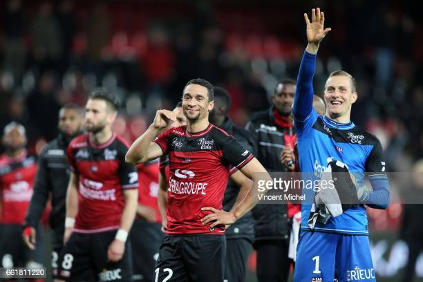 Nill De Pauw and Karl Johan Jonhsson of Guingamp during the French Ligue 1 match between Guingamp and Nancy at Stade du Roudourou on March 31 2017 in...