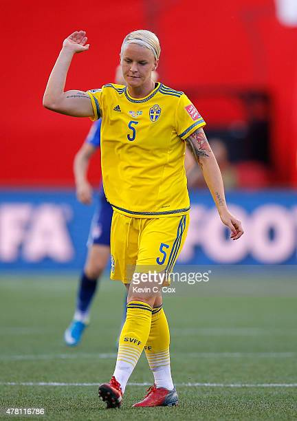 Nilla Fischer of Sweden against the United States of America during the FIFA Women's World Cup Canada 2015 match between USA and Sweden at Winnipeg...