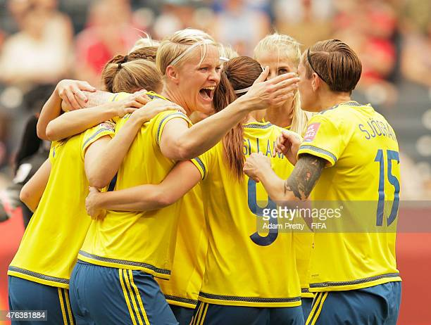 Nilla Fischer of Sweden celebrates after scoring a goal during the FIFA Women's World Cup Canada 2015 Group D match between Sweden and Nigeria at...