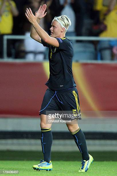 Nilla Fischer of Sweden celebrates after the UEFA Women's EURO 2013 Group A match between Finland and Sweden at Gamla Ullevi Stadium on July 13 2013...