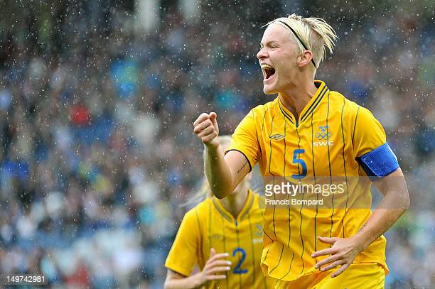 Nilla Fischer of Sweden celebrates her goal with team mates during the Women's Football Quarter Final match between Sweden and France on Day 7 of the...
