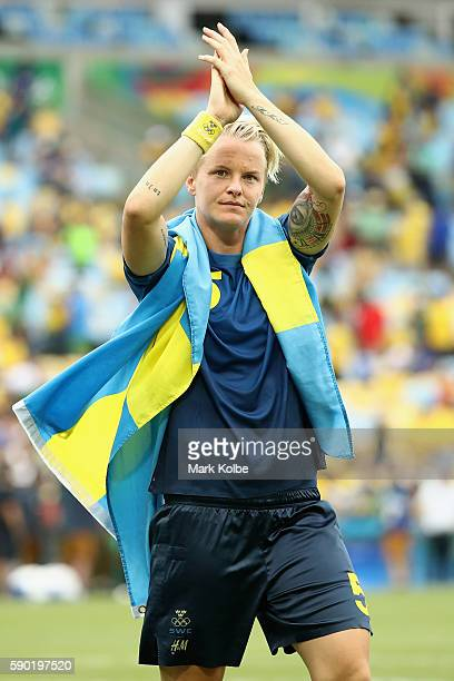 Nilla Fischer of Sweden celebrates victory in the Women's Football Semi Final between Brazil and Sweden on Day 11 of the Rio 2016 Olympic Games at...