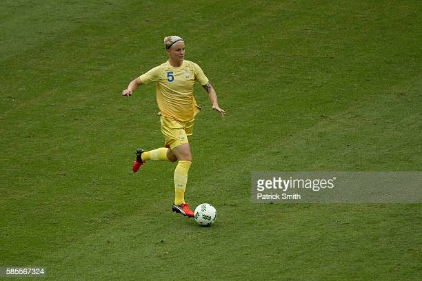 Nilla Fischer of Sweden controls the ball during the Women's Group E first round match between Sweden and South Africa during the Rio 2016 Olympic...